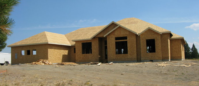 Completed wall and roof sheathing